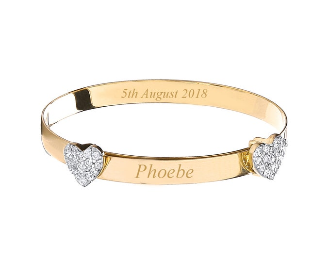 9ct Yellow Gold Double Cz Heart Baby Identity Bangle - Personalised Name & Message