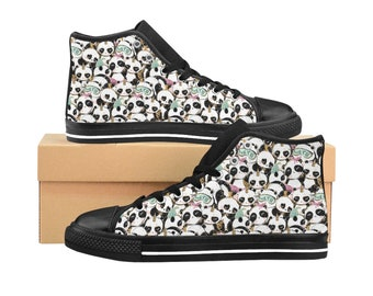 Womens High Top Sneakers Panda Print High Top Shoes Sneakers Gifts For Her Teen Sneakers Unique Print Shoes Custom Sneakers