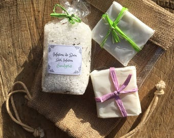 Gorgeous natural bath gift set with two soaps and bath salts