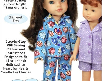 Pixie Faire Doll Tag Clothing Heartwarming Pajamas Doll Clothes Pattern for Les Cheries and Hearts for Hearts Dolls- PDF