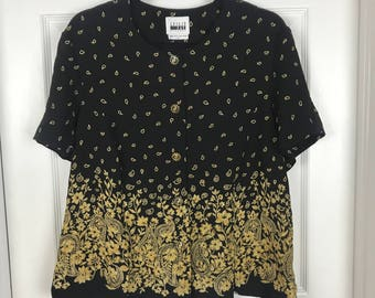 Size 18 Black and gold Leslie Fay top