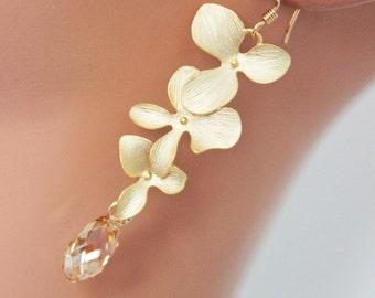 Dangling Triple Flower Earrings - Golden Shadow Bridal Earrings, Wedding Earrings, Bridesmaids Gifts, Bridal Jewelry