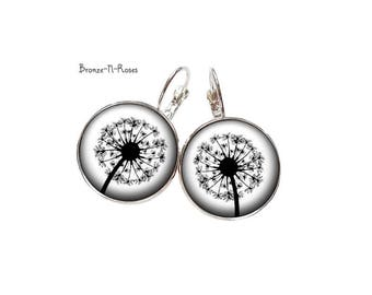 Earrings * collection black and white flowers * dandelion earrings nature crested glass