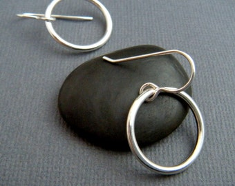 """silver circle earrings. sterling silver dangles. small circle drops. everyday earrings. simple jewelry. circle hoop. 3/4"""" circle."""