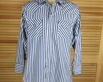 Vintage Pearl Snap Western shirt long sleeve striped blue white Panhandle Slim 15.5 x 33