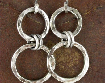 Sterling Silver Earrings Hammered Chunky