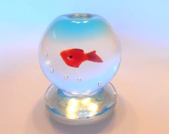 Hand BLOWN FISH BOWL Goldfish Vintage Controlled Graduated Bubbles Clear Glass Orange Miniature Pontil Footed Single Office Doll House