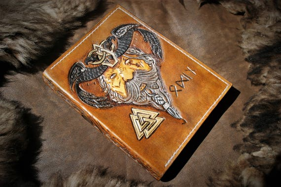 leather cover, for diary, planner, agenda, organizer for student (classical size) VIKING fantasy pattern of Odin