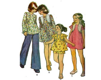 1970s Girls Dress or Top and Shorts McCalls 4401 Size 8 Breast 27 Uncut 70s Sewing Pattern