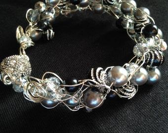 Black and silver wire crochet bracelet