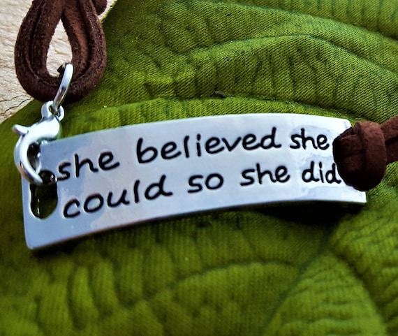 Sports Fitness Crossfit Jewelry, She Believed She Could So She Did Leather Bracelet, Inspirational Quotes, Believe Word Charms, Girl Power