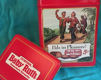 Set of 2 Vintage Baby Ruth candy bar collector container tin can