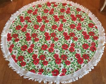 """Vintage Christmas Poinsettia Round 62"""" Cotton Linen Tablecloth with White Fringe Edge- vintage Christmas round tablecloth, 1960s tablecloth"""