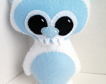 Abominable snowman  or yeti handsewn plush stuffed animal- white with blue face and belly