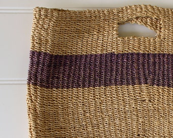 Vintage Tote Bag - Esprit Straw Tote with Handle - Natural with Purple Stripe- Market Tote