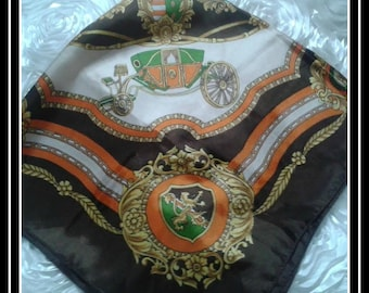 Vintage scarf with carriage and Lions Multi colors Polyester with lions, vintage carriages , flowers, leafs , coat of arms 27 x27