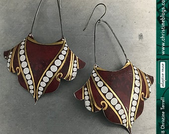 Wabi Sabi Boho Dotted Recycled Tin Maroon Gold Earrings 10th Anniversary Sustainable Gift for Her Upcycled Zero Waste Contemporary Jewelry