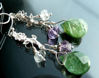 Spring Daisy Dangle Earrings Sterling silver daisies purple amethyst clear quartz crystal green moss agate terrarium briolettes OOAK jewelry