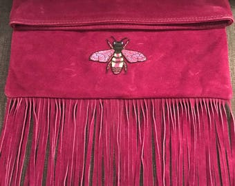 Fringed Clutch Bag with Bumble Bee Embellishment