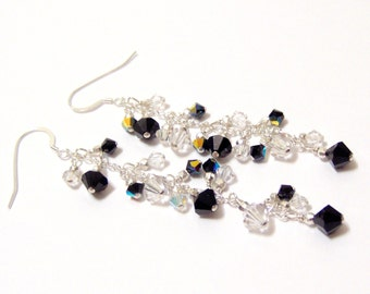 Tuxedo Classic Black and White Swarovski Crystal and Sterling Silver Chain Earrings