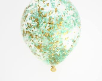 Mint + Gold Confetti Balloon | 11 inch, 16 inch or 18 inch confetti balloon