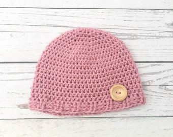 crochet pink baby hat, baby girl hat, newborn hat, handmade hat, new baby gift, crochet baby beanie, baby shower present