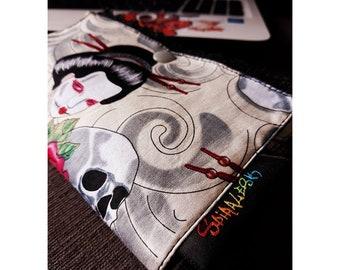 pouch geisha skull lace