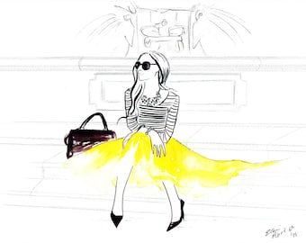 Digital Download - Watercolour Fashion Illustration Titled An Italian Voyage