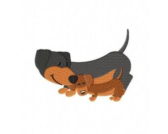 Dachshunds dog puppy weiner dog embroidery design
