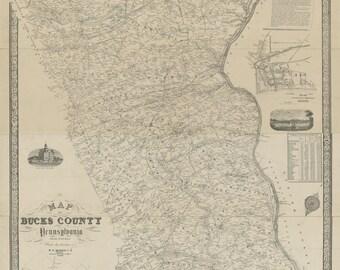 Bucks County  Pennsylvania 1850 - Wall Map  With Homeowner names - Genealogy - BW Reprint
