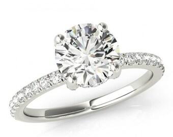 Forever One Moissanite & Diamond Side Halo Engagement Ring - Diamond Ring - Hidden Halo - Moissanite Engagement Rings For Women, Anniversary