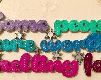 Hanging frozen quote
