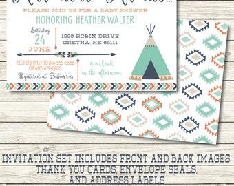 Tribal Baby Shower Invitation - Tribal Baby Shower Decorations - Tribal Invitation- Aztec Baby Shower Invitation - Arrow Baby Shower Invitat