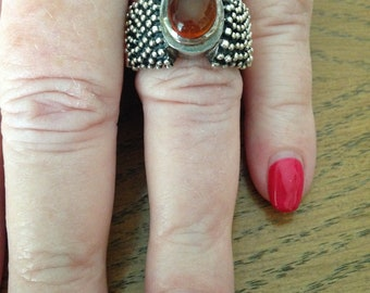 Amber Sterling Silver Beaded Ring