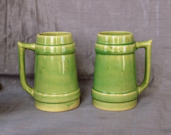 Two (2) Burley-Winter Steins/Mugs ~ 24 Ozs. ~ Green ~ 1876-1901 ~ Crooksville, OH ~ Beer Steins ~ Coffee Mugs ~ Stoneware ~ Yellow Ware