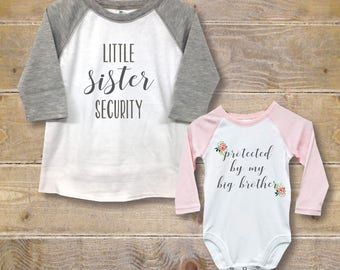 Big Brother Little Sister Shirts, New Big Brother, Baby Shower Gift, Big Brother Baby Sister, New Big Brother, Sister Security Shirt