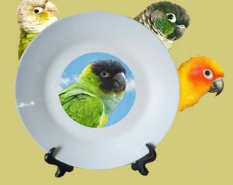 "Nanday Conure Black-hooded Parakeet Parrot Blue Sky Clouds White Decorative Ceramic 8"" Plate and Display Stand"