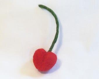 Needle Felted Cherry - Life Size Felt Fruit