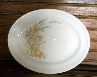 Oval Platter - Crown Potteries Co Oval Platter - Floral Platter - Crown Potteries Co - Floral Oval Platter - Crown Potteries Made in USA & Knowles Semi Vitreous Porcelain Large Oval Platter Large Oval