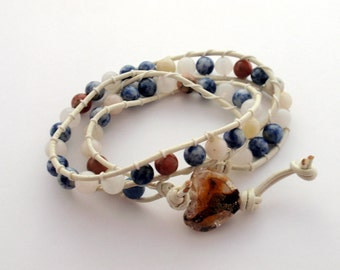 Double Wrap Bracelet - Assorted Semiprecious Stones, White Leather and Glass Heart
