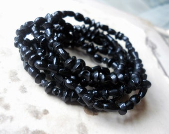 Black Glass Beads - 52 Inch Strand - 1 Strand - Small Shiny Rustic Indian Pressed Glass Beads - Mixed Shapes - Jet Black Beads 3mm - 10mm