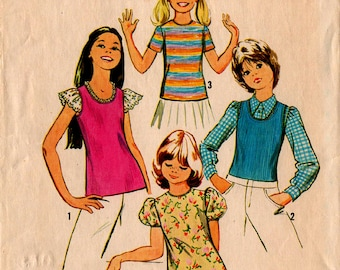 1972 GIRLS' TOPS PATTERN Simplicity #5439 Size 8 For Knits 4 Styles Casual School Vintage Sewing