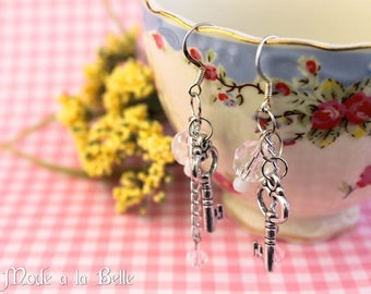 Silver Key, pink and clear bead dangle earrings