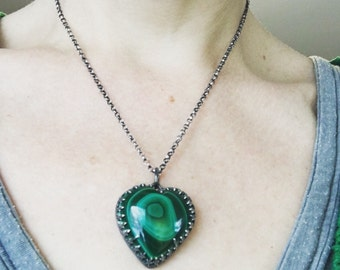 Green heart necklace stone, malachite heart necklace sterling silver, valentines jewelry, gothic jewelry, gift for her, OOAK jewellery