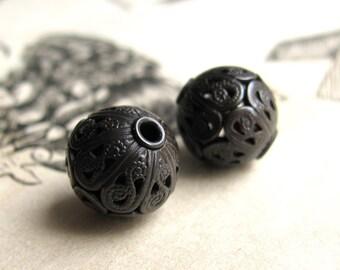 10mm luxury filigree bead, dark oxidized antiqued brass bead, aged black patina (2 round spheres) spherical orb, lead nickel free
