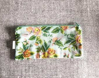 Jardin de Paris Mint Pencil Pouch | Rifle Paper Company | Floral Zipper Pouch | Make-Up Bag | for an organized Diaper Bag, Purse, Backpack