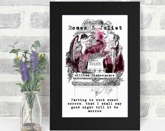 Romeo And Juliet Print, Shakespeare Quote, Literary Gift, Romantic Gift