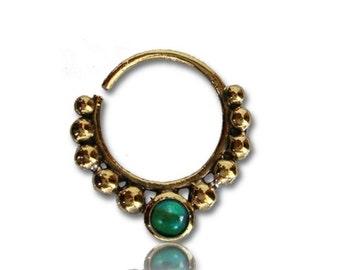 Piercing del setto del naso anelli Malachite perline orecchini in ottone dorato 1mm antico verdi (BN-81)