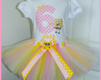 Super Cute Spongebob  Birthday Tutu outfit Pink Yellow and white Tutu