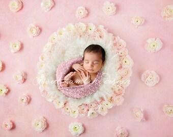 Newborn Digital Backdrop -  Spring/Easter Nest Fresh Flowers - Izzie